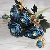 artificial flowers kits Branches Autumn Artificial Fake Peony Flower Home Room Bridal Hydrangea Decor Real Touch artificial flowers in vase (Blue)
