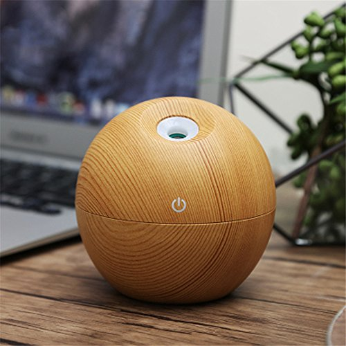 HF morning Aroma Diffuser Round Mini USB Ultrasonic Humidifier Whisper-quiet Air Purifier Aromatherapy Essential Oil Diffuser Night Light for Home, Office, Bedroom (95×95×100mm, U6 Light Wood Grain)