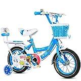 Boyang Bicicletas for niños 12/18 Pulgadas Boy y Bicicletas de la Muchacha 2-4/6-11 Año Viejo Marco de Acero de Alta Bici del bebé de Carbono, Rosa/Azul