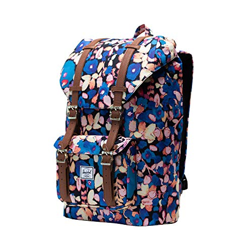 Herschel Little America Mid-Volume Backpack, Painted Floral/Tan Synthetic Leather, One Size