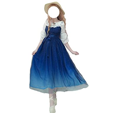 8578dc11d93 Himifashion Lolita Dresses,Blue Starry Sky Jumper Chiffon Dress   Amazon.co.uk  Clothing
