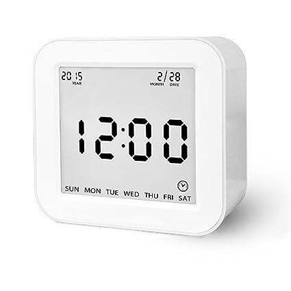 Reloj despertador digital con fecha e indicador de temperatura,alarma de sensor táctil y luz