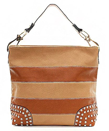 Striped with Rhinestone Accent Hobo Brown Handbag Republic Handbag 4fXxI5wq