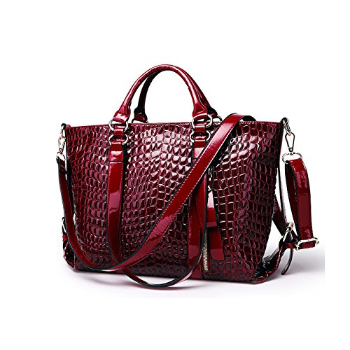 Tisdaini Ladies Handbag Fashion Crocodile Pattern Shoulder Messenger Bag Business Handbags Purse Red