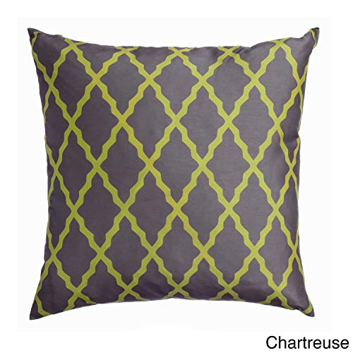 (Set of 2 Geometric Chartreuse Throw Pillow Large Sized Square 20