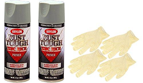 Rust Tough Primer - Krylon 9240 Rust Tough Enamel Spray Paint Primer Zinc (12 oz) Bundle with Latex Gloves (6 Items)