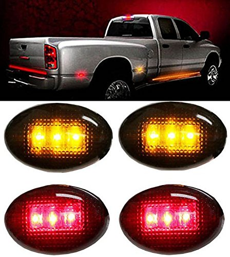 Amazon.com: partsbox 2pcs Rojo + 2pcs LED ámbar Fender cama ...