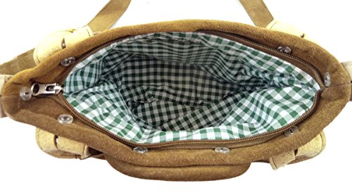 Lederhosen-Tasche Trachtentasche Dirndltasche Wildleder braun mit Stickerei Hirsch oliv