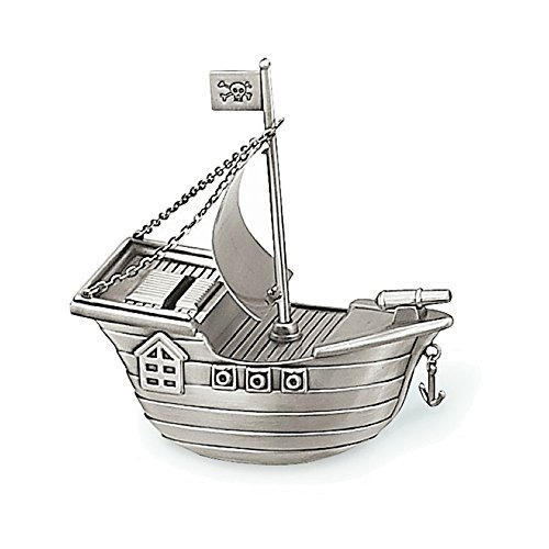 (Jewelry Adviser Gifts Pewter Finish Pirate Ship Bank)