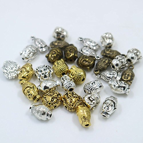 50pcs Mixed Buddha Heads Shape Charms Pendant Beads, DIY Crafts, Jewelry Making Charms - Shape Head Types