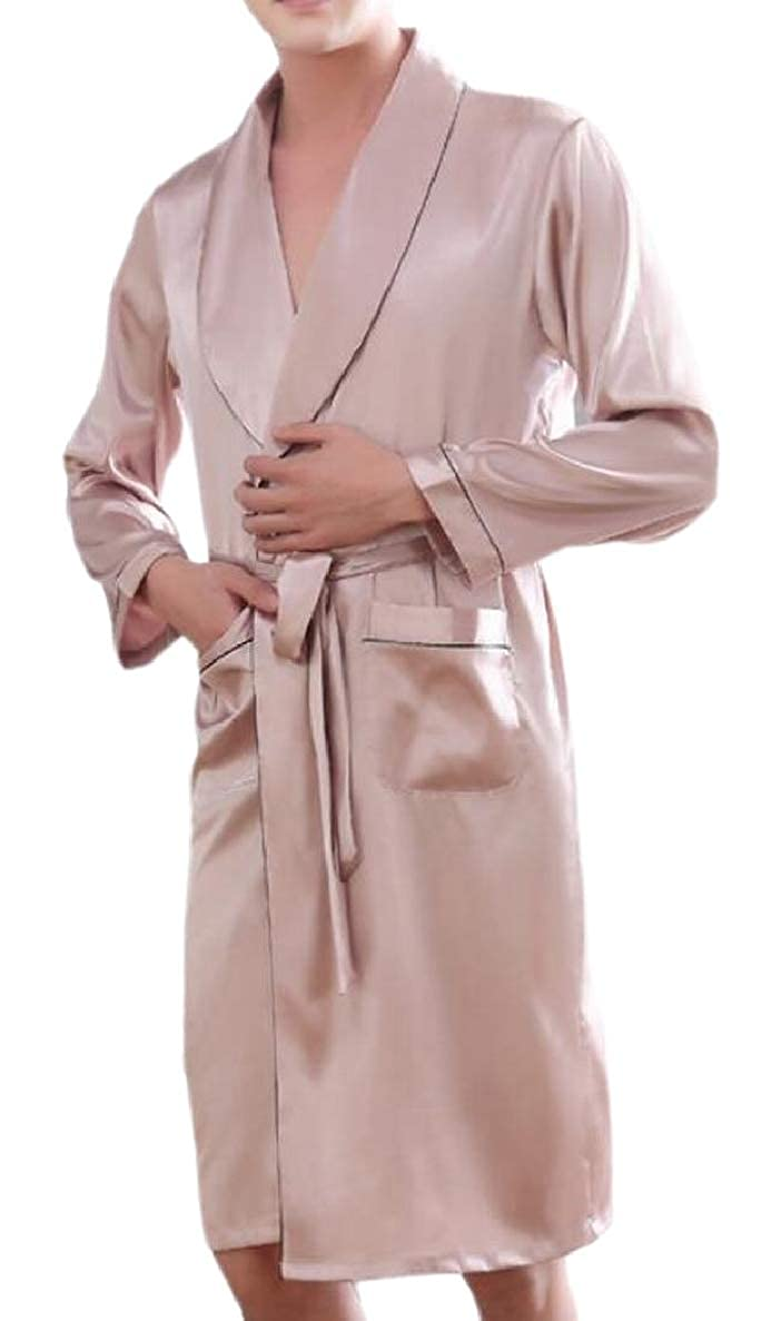 ONTBYB Mens Homewear Faux Silk Robe Lounge Belted Cozy Long Sleeved Bathrobe