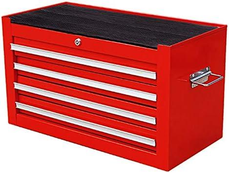 工具入れカート ポータブルツールボックス戸開ロック引き出し修理トロリーボックスヘビーデューティー錫 工具カート キャビネット (色 : Red, Size : 62x30x35cm)