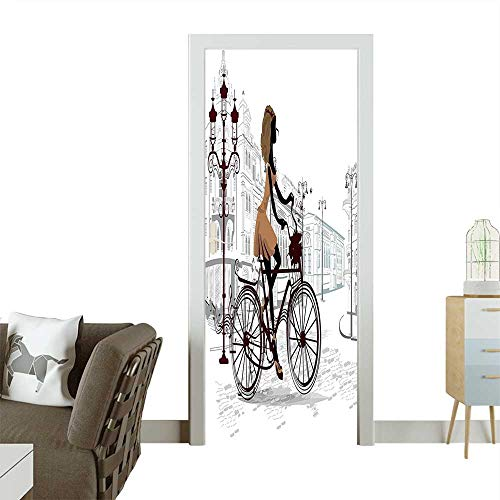 Homesonne 3D Photo Door Murals Young Girl in Paris Streets with Bike French Display Chestnut and Light Easy to Clean and applyW36 x H79 INCH