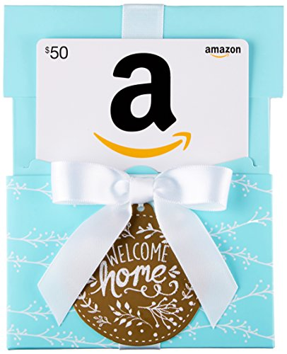Amazon.com $50 Gift Card in a Welcome Home Reveal (Classic White Card Design)