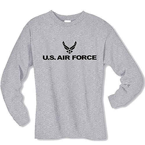 Force T-shirt Long Air Sleeve (Air Force Long Sleeve T-Shirt in gray, Large)