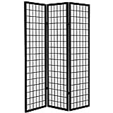 Oriental Furniture 6 ft. Tall Canvas Window Pane Room Divider - Black - 3 Panels
