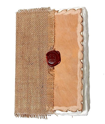 Jute & Leather Diary Notebook Personal Organizer With a Lac Seal Fixture Travel Journal Sketchbook Composition Notebook with 96 Eco-Friendly Handmade Sheets – 8 X 5.5 Inches