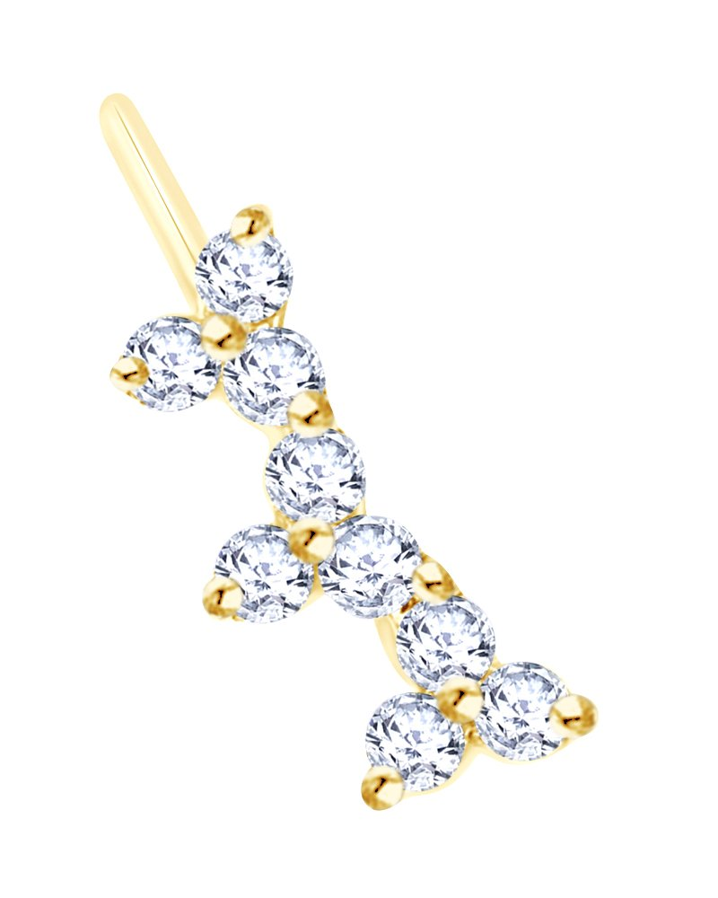 14K Solid Yellow Gold White Natural Diamond Single Ear Cuff Earring