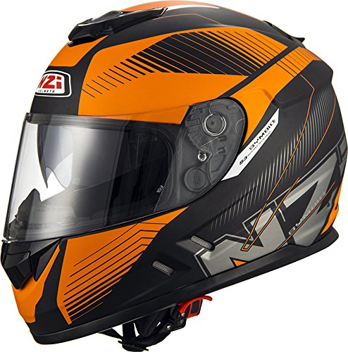 NZI Symbyo2 Duo Volles Gesicht Motorradhelm, Matt Indy Schwarz Orange, Grö ß e XL 150301A052XL
