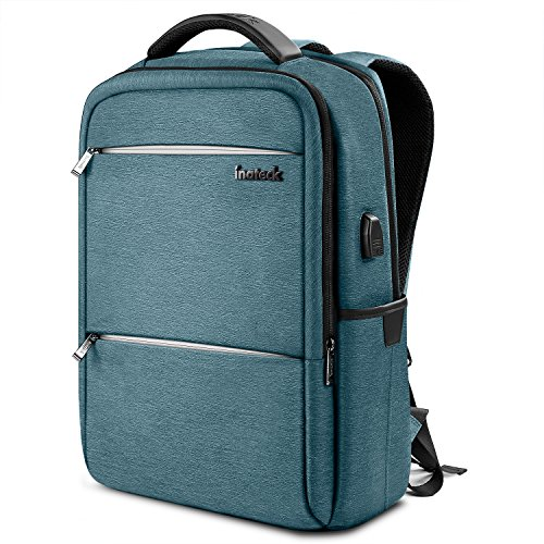 Inateck Anti-Theft School Business Travel Laptop Backpack Bag with USB Charging Port, Fits Up to 15.6'' Laptops, Rucksack with Waterproof Rain Cover and Luggage Belt - Blue by Inateck