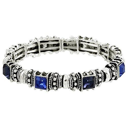 Acrylic Silver Bracelet - Falari Vintage Acrylic Crystal Antique Silver Stretch Bracelet Dark Blue & Montana B0002-11