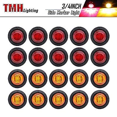 20 Pcs TMH 3/4 Inch Mount 10 pcs Amber & 10 pcs RED LED Clearance Markers Bullet Marker lights, side marker lights, led marker lights, led side marker lights, led trailer marker lights: Automotive