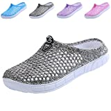 clootess Women Garden Clogs Shoes Slippers Sandals Quick Drying Walking Ladies House Room Indoor Outdoor Shower Sport Home Summer Breathable Light EVA 7 B(M) US JD-Grey 38