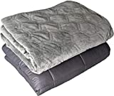 DensityComfort Weighted Blanket and Duvet Cover 25 lbs Adult 60x80 Queen Size | 100% Certified Oeko-TEX Cotton | Grey | Glass Beads | Heavy Throw Blanket
