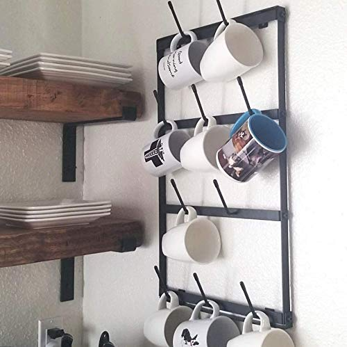 Shelf Brackets 4-Pack - Heavy Duty Rustic Industrial Farmhouse Iron Metal Wall Floating Shelf Bracket with Lip for DIY Open Shelving - Includes Hardware (11.25'') by Claimed Corner (Image #4)