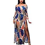 JESPER Women Summer Off The Shoulder Boho Long Maxi Dress Evening Party Beach Dress Sundress Multicolor