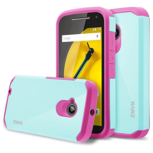 Hot Pink Hard Case - Moto E 2nd Gen Case, RANZ Hot Pink with Aqua Blue Hard Impact Dual Layer Shockproof Bumper Case For Motorola Moto E 2nd Generation 3G/4G LTE (2015 Released)