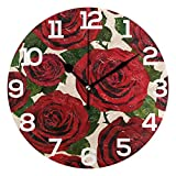 Dozili Valentine's Day Rose Pattern Round Wall Clock Arabic Numerals Design Non Ticking Wall Clock Large for Bedrooms,Living Room,Bathroom