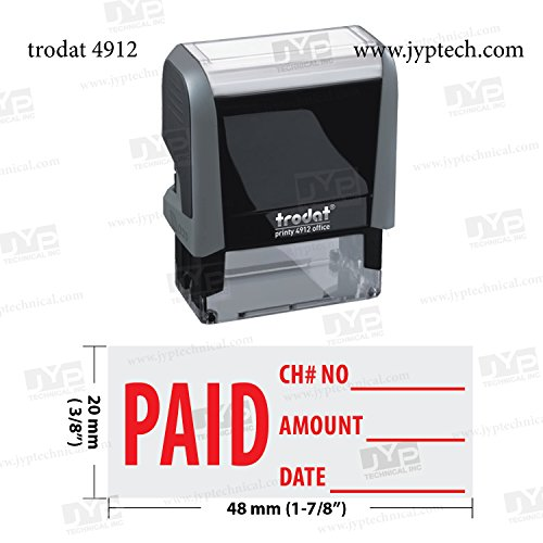 New Trodat 4912 Self Inking Rubber Stamp w. Paid Check No Amount Date