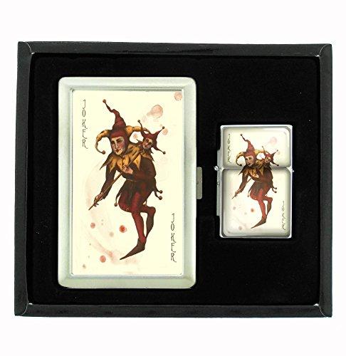 Joker Card Poker Cigarette Case and Flip Top Oil Lighter Set