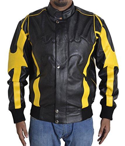 TOFFHUB Men's Batman Motorcycle Faux Leather Jacket (4XL) Black & -