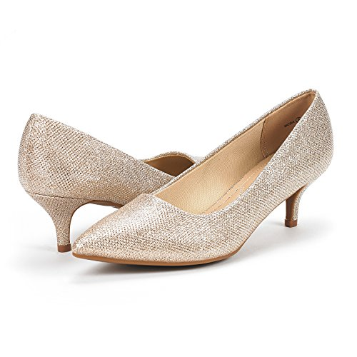 Gold Heel Moda DREAM Shoes PAIRS Low Toe Glitter Women's D'Orsay Pump Pointed OSwTSngqv