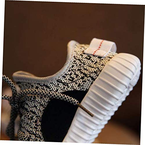 Shoes Gray Big Kid US 4 Running Shoes Boys Girls Breathable Lightweight Flyknit Comfort Sneakers
