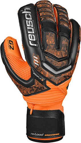 Reusch Soccer Re:Load Supreme G2 Ortho-Tec Goalkeeper Glove, Black/Orange, Size 7 (Ortho Tec Glove)
