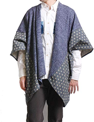紋付きニット×麻の葉刺し子羽織り 和柄カーディガン/D14604
