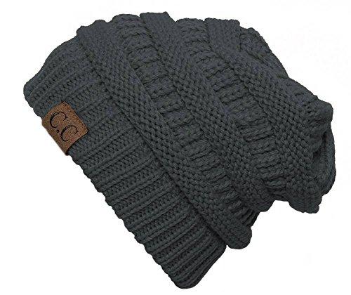 C.C Women's Thick Knit Beanie, Dark Melange Grey from C.C