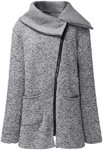 女性斜めジッパーフリース長袖秋冬コート