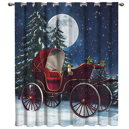BJGCWY Christmas Car Elk Cart Room Curtains Large Window Living Room Blackout Bathroom Kitchen Indoor Fabric Decor Kids Window Treatmen (Window Treatmens)