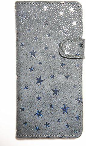 魔法の工房 iPhone SE 第2世代 ケース 手帳型 カバー 手帳 ストラップ 星 シャインスター (グレー)