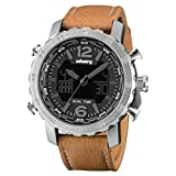 INFANTRY Men's Analog Digital Quartz Wrist Watch Dual time with Brown Genuine Leather Strap - silver