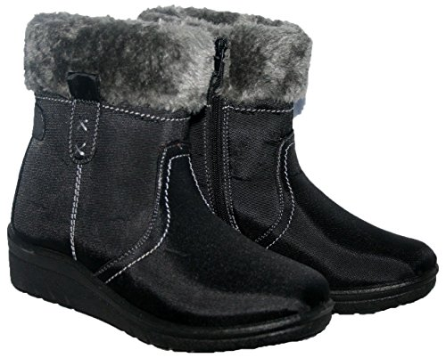 Boots Grip Womens UK Buckle 8 Ladies Size Fleece Sole LoudLook New Hard Snow 3 Ankle Flat Winter Black 05AZ7axq