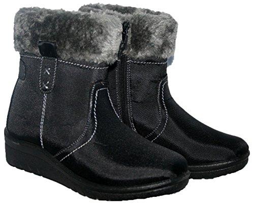 Boots Grip Womens UK Buckle 8 Ladies Size Fleece Sole LoudLook New Hard Snow 3 Ankle Flat Winter Black 05AZ7axq