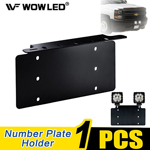 Front Light Bracket - WOWLED Universal License Number Plate Mounting Bracket Holder/Front Bull Bar Bumper LED Driving LED Light Bar Work Lamp Front License Plate Frame Bracket for Truck SUV 4X4 4WD Off-Road Truck Jeep