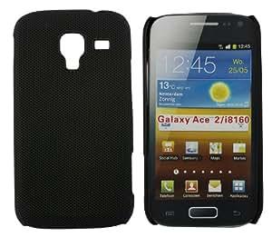 Kit Me Out ES ® Carcasa plástico + Protector de pantalla con gamuza de microfibra para Samsung Galaxy Ace 2 i8160 - Negro Textura suave