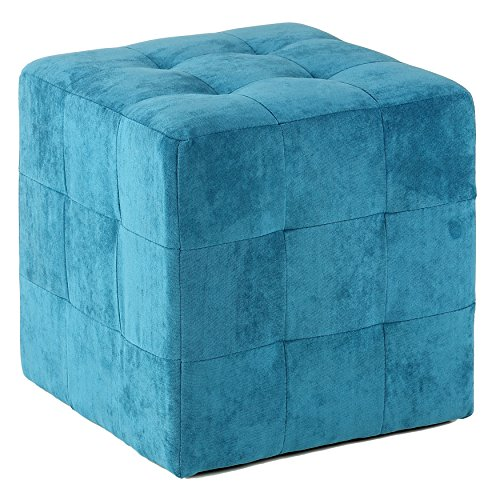 Cortesi Home Braque Tufted Cube Ottoman, Blue (Ottoman Cube Upholstered)