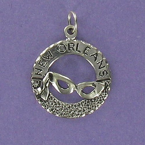 (Pendant Jewelry Making New Orleans Charm Sterling Silver 925 for Bracelet Mardi Gras Mask Bourbon)